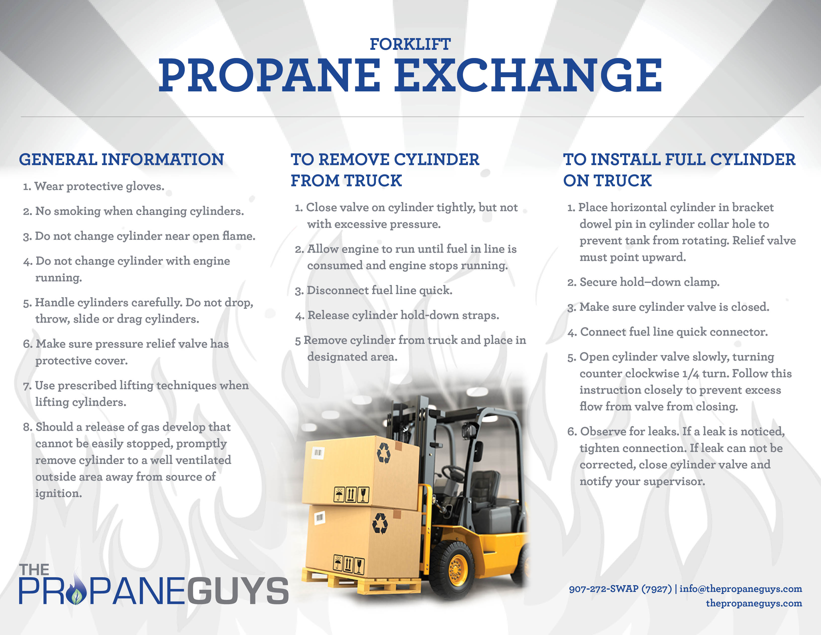 Handling forklift propane safely the propane guys download forklift propane safety sheet now 1betcityfo Image collections